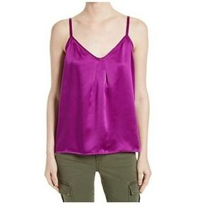 Vince Satin Camisole Pleated Neck Cami Tank Top L